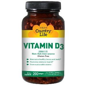 Vitamin D3 2500 IU (200 Softgels) Country Life